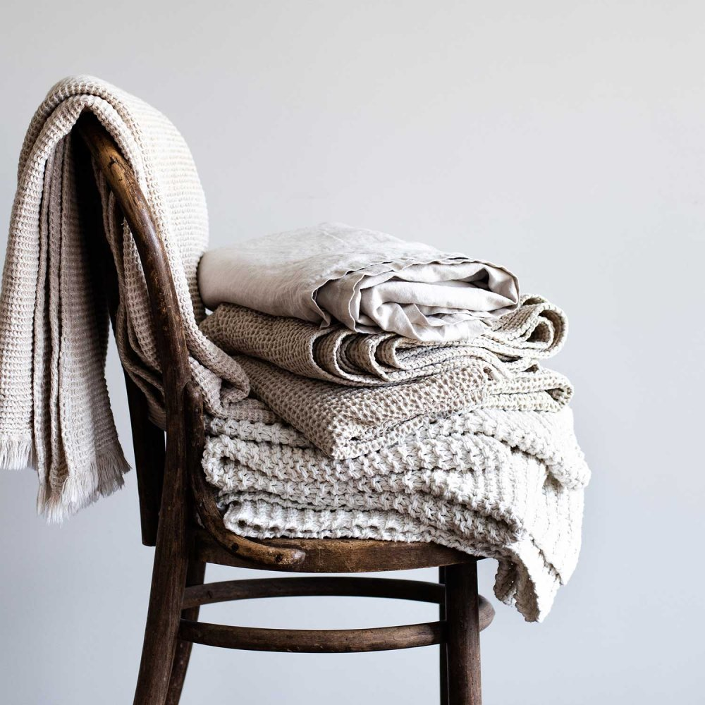 blankets of cotton and linen